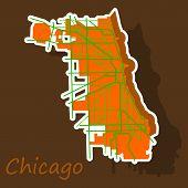 Sticker Map Chicago City. Illinois Roads Logo Icon poster