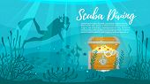 Vector Cartoon Style Underwater Background With Sea Flora And Fauna. Coral Reef, Sea Plants And Fish poster