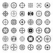 Crosshair Target Scope Sight Icons Set. Simple Illustration Of 36 Crosshair Target Scope Sight Vecto poster