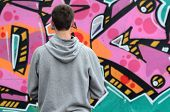 A Young Graffiti Artist In A Gray Hoodie Looks At The Wall With His Graffiti In Pink And Green Color poster