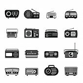 Radio Music Old Device Icons Set. Simple Illustration Of 16 Radio Music Old Device Vector Icons For  poster