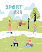 Summer Outdoor Sports Activities. Active People In The Park Poster, Banner. Running, Yoga, Roller, F poster