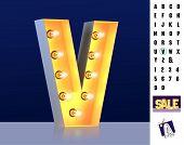 Letter V From Alphabet. Glowing Letter V. Bulb Type V. 3d Illuminated Light Bulb Symbol Letter V. Re poster