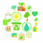 Ecology Items Icons Set. Cartoon Illustration Of 16 Ecology Items Vector Icons For Web poster