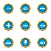 Transport For Movement Icons Set. Flat Set Of 9 Transport For Movement Vector Icons For Web Isolated poster