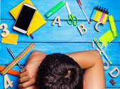 A Student Is Asleep In The Workplace, A Creative Mess. The Student Is Lazy And Does Not Want To Lear poster