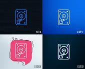 Glitch, Neon Effect. Hdd Icon. Hard Disk Storage Sign. Hard Drive Memory Symbol. Trendy Flat Geometr poster