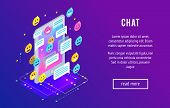Chating. Isometric Chat Concept With Mobile Phone, Emoji Icons, Message Bubbles. Trendy Isometric Ba poster