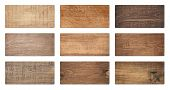 Brown Wooden Cutting Boards, Signboard, Planks Are Isolated On White Background. poster