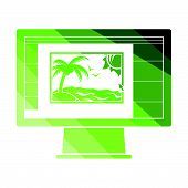 Icon Of Photo Editor On Monitor Screen. Flat Color Design. Vector Illustration. poster
