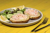 Classic Healthy Slimming Food. Prawn On Jacket Potato With Lettuce Leaf Salad. Nutritional Low-calor poster