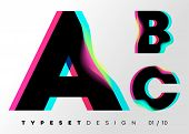Vector Typeset Design. Neon Glitch Style. Black Bold Font, Double Exposure. Abstract Colorful Type F poster