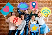 Cheerful friends holding social media icons poster