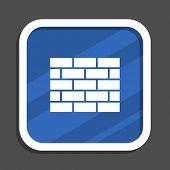 Firewall blue flat design square web icon poster