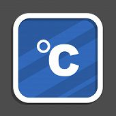 Celsius blue flat design square web icon poster
