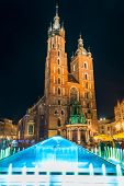 The Central Square Of Krakow At Night, View Of The Church Of Mary poster