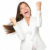 Happy winner. success business woman celebrating screaming and dancing of joy winning. Beautiful mix