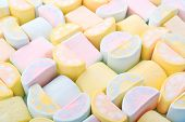 Colorful Sweet Marshmallows. Yellow, Blue And Pink Trendy Pastel Colors Background Or Texture Of Min poster