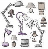 Set Of Modern And Classic Table Lamps.vector Spotlight Lamp Accessory, Lamp Icon. poster