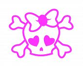 stock photo of emo  - Pink girly emo skull on white background - JPG