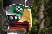 stock photo of indian totem pole  - Totem Poles at Stanley Park Vancouver B.C. Canada.