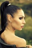 Sensual Sexy Woman. Profile Of Beautiful Sexy Young Brunette Woman With Bright Makeup And Ponytail I poster