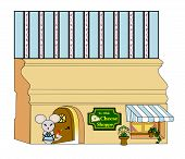 image of baseboard  - Mouse standing in front of a mouse hole in a baseboard decorated as a cheese store - JPG