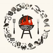 Set Of Barbecue Objects. Collection Of Bbq Cutlery And Various Meat Dishes, Vector Illustration, Ico poster
