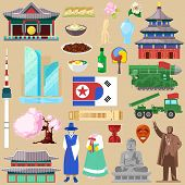 Korea Vector Korean Traditional Culture Symbol Of Southkorea Or Northkorea Country Illustration Tour poster