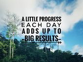 Motivational And Inspirational Quote - A Little Progress Each Day Adds Up To Big Results. With Vinta poster
