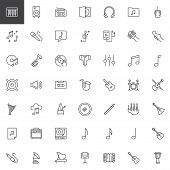 Music Instruments Outline Icons Set. Linear Style Symbols Collection, Line Signs Pack. Vector Graphi poster