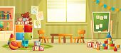 Vector Cartoon Illustration Of Empty Kindergarten Room With Furniture And Toys For Young Children. N poster