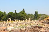stock photo of brothel  - Ruins of a temple of Aphrodite in an antique city the Ephesus - JPG