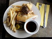French Dip Sandwich.  In American Cuisine, The French Dip Sandwich, Also Known As A Beef Dip, Is A H poster