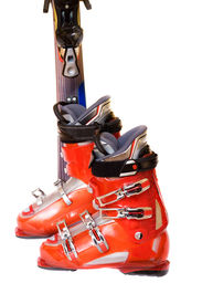 picture of ski boots  - Modern perfect mountain ski boots and ski - JPG
