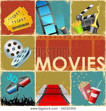 Постер, плакат: Иллюстрация коллаж фона фильм с объектом различных кино, холст на подрамнике