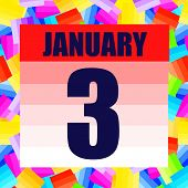 January 3 Icon. For Planning Important Day. Banner For Holidays And Special Days. Third Of January.  poster