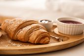 Delicious Croissant And Jam On Table. Delicious Morning Meal poster