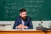 Hipster School. Hipster Teacher. Hipster In Class. Bearded Man In Formalwear At Teachers Table. Brut poster