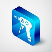 Isometric Electric Hot Glue Gun Icon Isolated On White Background. Hot Pistol Glue. Hot Repair Work  poster