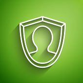 White Line User Protection Icon Isolated On Green Background. Secure User Login, Password Protected, poster