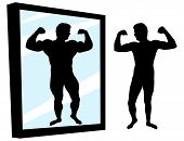 Strong And Weak Person. Protein Result. Man Stands In Front Of A Mirror With High Self-esteem. Muscl poster
