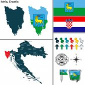 Vector Map Of Istria And Location On Croatian Map poster