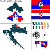 Vector Map Of Koprivnica Krizevci And Location On Croatian Map poster