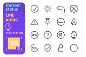 Collection Of Current Status Line Icons Vector Illustration. Set Consists Of Done Sign Protection Pi poster