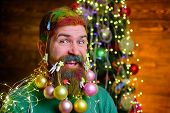 New Year Party. Cheerful Santa Man With Decorated Beard. Santa Claus Man With Decorated Beard. Merry poster