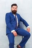 He Is Sure To Impress. Confident Businessman. Businessman Sit On Chair. Bearded Businessman In Forma poster