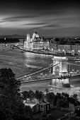 Budapest Hungary, Sunset Panorama Of Budapest, Hungary, With The Chain Bridge And The Parliament Bla poster