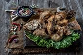 Deep Fried Tubtim Fish With Fish Sauce On Vintage Wooden, The Perfect Frying Process, Set Hot Fire,  poster