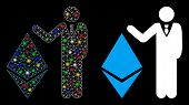 Glossy Mesh Banker Show Ethereum Icon With Lightspot Effect. Abstract Illuminated Model Of Banker Sh poster